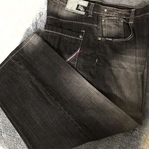 Men's casual/dressy black distressed look jeans.